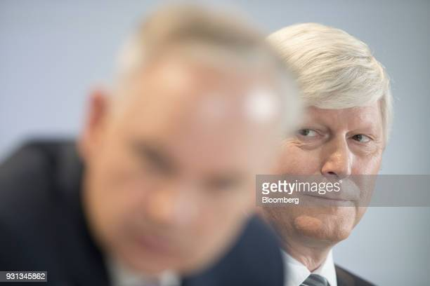 Rolf Schmitz chief executive officer of RWE AG looks on during a news conference in Essen Germany on Tuesday March 13 2018 EON will shed as many as...