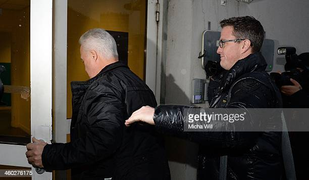 Rolf Schumacher father of Michael Schumacher and his brother Ralf arrive at the Grenoble University Hospital Centre where the former German Formula...