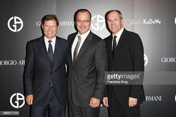 """Rolf Sigmund , Patrice Wagner Und Alexander Schwarz Beim Giorgio Armani Cocktail Empfang Zur Präsentation Von """"Crema Nera"""" Am 290807 In Berlin Im..."""