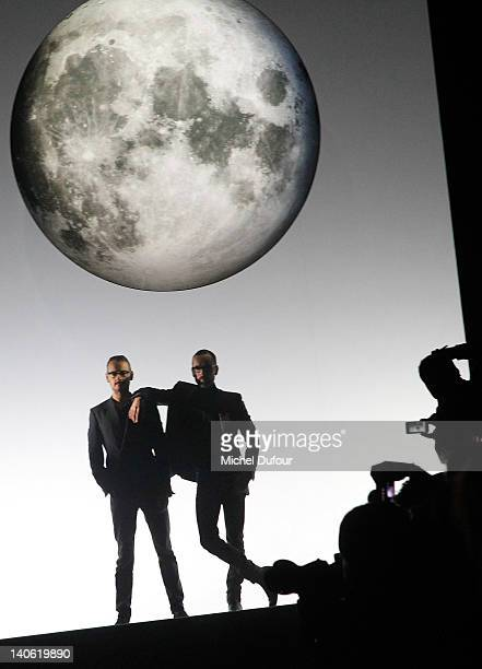 Rolf Snoeren and Viktor Horstign pose during the Viktor Rolf ReadyToWear Fall/Winter 2012 show as part of Paris Fashion Week at Espace Ephemere...