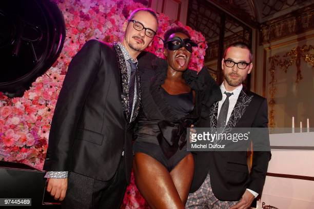 Rolf Snoeren, Grace Jones and Viktor Horsting attends the Victor & Rolf 'Flower Bomb' 5th Anniversary Party at Hotel Meurice on March 4, 2010 in...