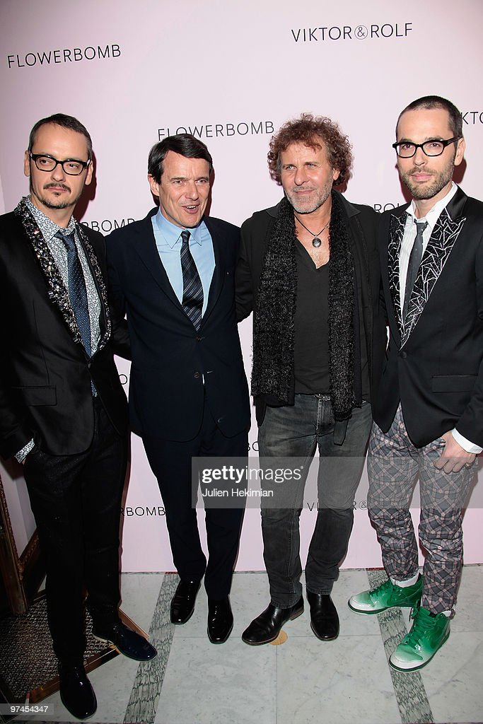 Rolf Snoeren, guest, Renzo Rosso and Viktor Horsting attend the Victor & Rolf Flower Bomb 5th Anniversary Party at Hotel Meurice on March 4, 2010 in Paris, France.