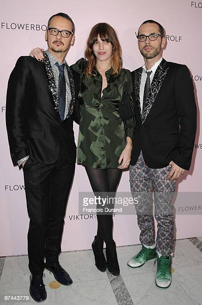 Rolf Snoeren, Lou Doillon and Viktor Horsting attend the Victor & Rolf 'Flower Bomb' 5th Anniversary during Paris Fashion Week at Hotel Meurice on...
