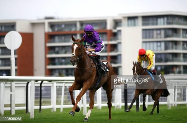 Rolfe Rembrandt ridden by jockey Thore Hammer Hansen on their way to winning the Unibet Casino Deposit 10 Get 40 Bonus Nursery race at Newbury...