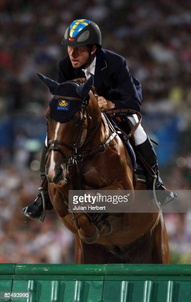 RolfGoran Bengtsson of Sweden and Ninja jump a fence during the Individual Jumping Final Round A held at the Hong Kong Olympic Equestrian Venue in...