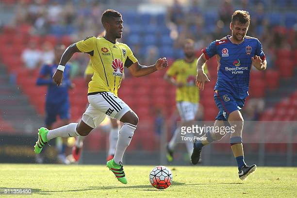 Rolieny Bonevacia of the Phoenix contests the ball with Cameron Watson of the Jets during the round 20 ALeague match between the Newcastle Jets and...