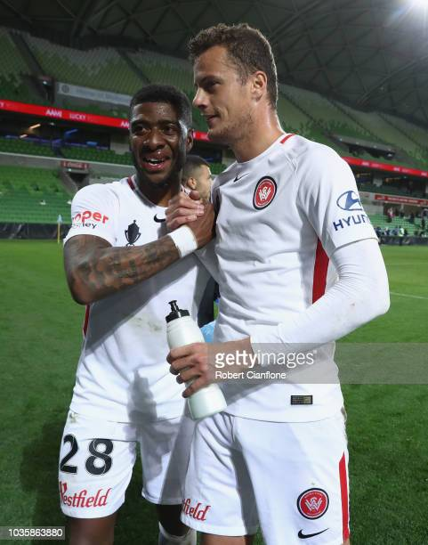Rolieny Bonevacia of the Wanderers and Oriol Riera Magem of the Wanderers celebrate after the Wanderers defeated Melbourne City during the FFA Cup...