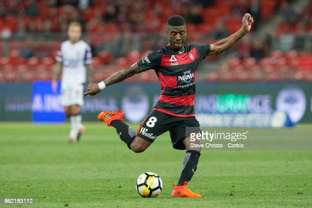 Rolieny Bonevacia of the Wanderers takes a shot at goal during the round one A-League match between the Western Sydney Wanderers and the Perth Glory at Spotless Stadium on October 8, 2017 in Sydney, Australia