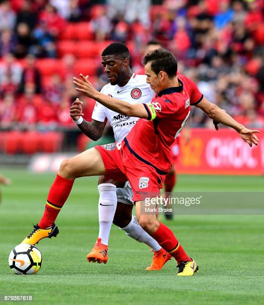 Rolieny Bonevacia of West Sydney Wanderers fouls Isaias of Adelaide United during the round eight ALeague match between Adelaide United and the...