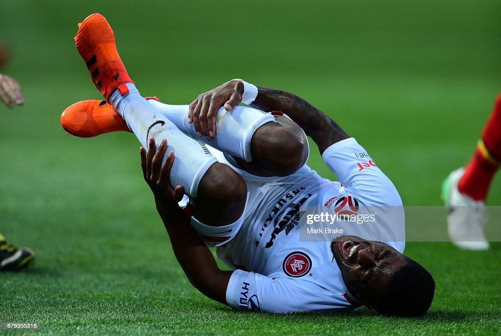 Rolieny Bonevacia of West Sydney Wanderers goes down after being fouled by Ben Garuccio of Adelaide United during the round eight A-League match between Adelaide United and the Western Sydney Wanderers at Coopers Stadium on November 26, 2017 in Adelaide, Australia.