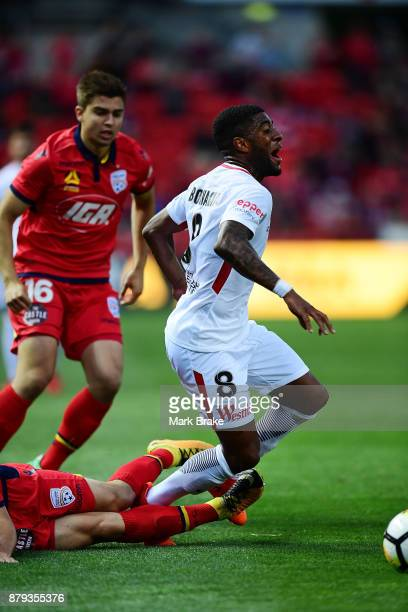 Rolieny Bonevacia of West Sydney Wanderers goes down after being fouled by Ben Garuccio of Adelaide United during the round eight ALeague match...