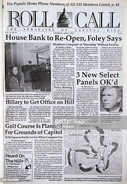 Roll Call front page from April 1, 1993 is pictured in the CQ Roll Call office, March 25, 2015.
