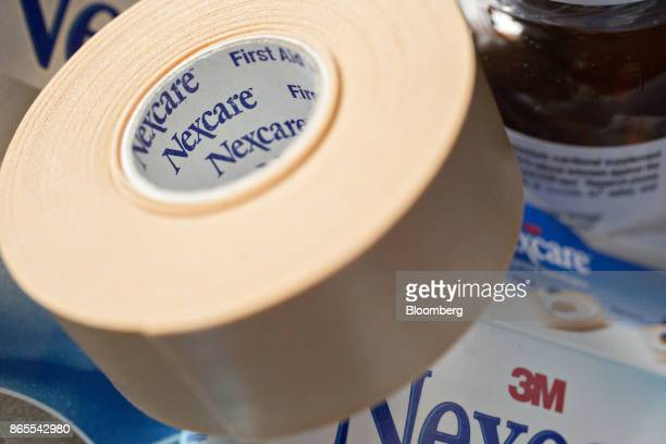 A roll of 3M Co Nexcare brand waterproof medical tape is arranged for a photograph in Tiskilwa Illinois US on Monday Oct 23 2017 3M is scheduled to...