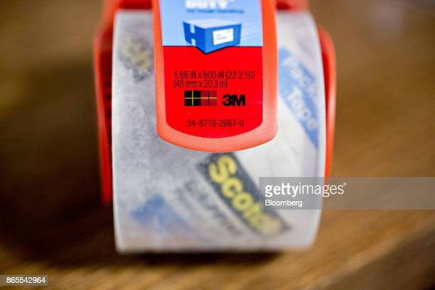 A roll of 3M Co Scotch brand packing tape is arranged for a photograph in Tiskilwa Illinois US on Monday Oct 23 2017 3M is scheduled to release...
