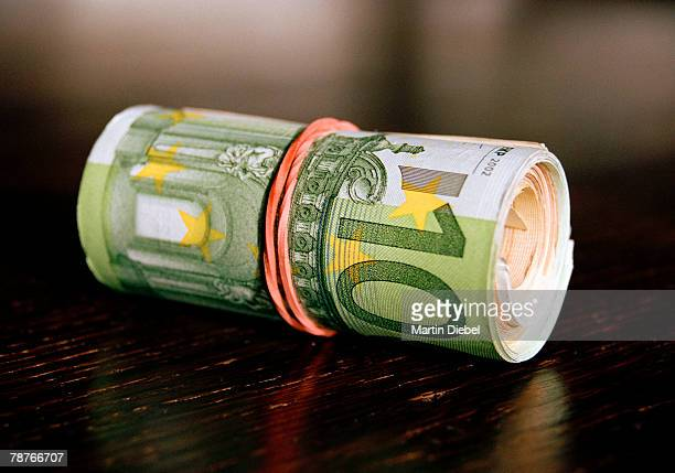 A roll of Euro banknotes