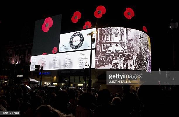 A 'roll of honour' commemorating more than two thousand residents from London's Westminister borough who fought and died in WWI is projected onto...