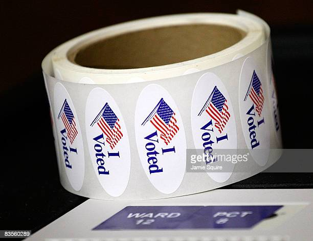 A roll of 'I Voted' stickers sit at the Children's Memorial Lutheran Church polling location November 4 2008 in Clay County Kansas City Missouri...