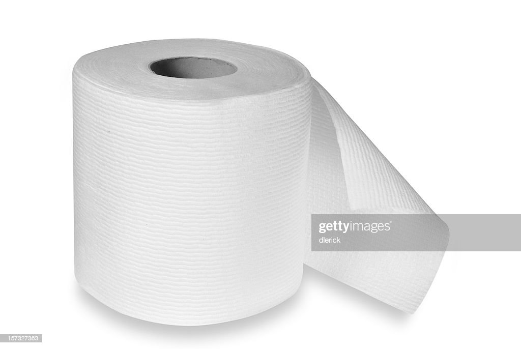 roll of toilet paper with clipping path : Stock Photo