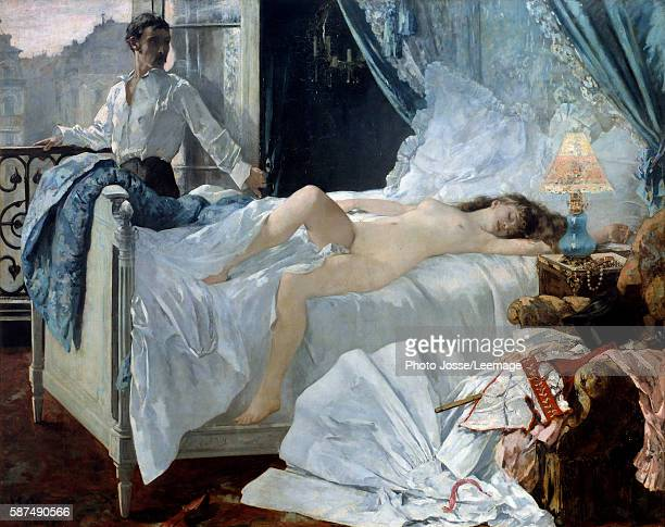 Rolla A couple in a bedroom the woman is sleeping and naked the man near the window looking at her Painting by Henri Gervex 1878 175 x 220 m...