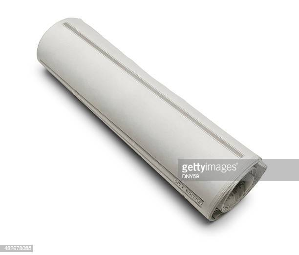 rolled blank newspaper - rolled up stock pictures, royalty-free photos & images