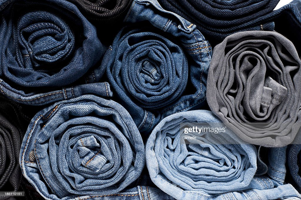 Rolled Denim Jeans : Stock Photo