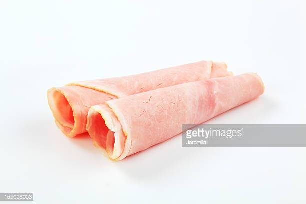 rolled slices of ham - ham stock pictures, royalty-free photos & images