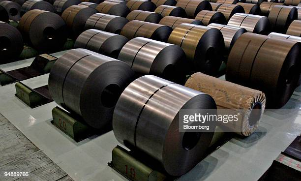 Rolled steel is pictured at the BaosteelNSC/Arcelor Automotive Steel Sheets Co plant in Shanghai China Tuesday November 8 2005 The US asked the World...