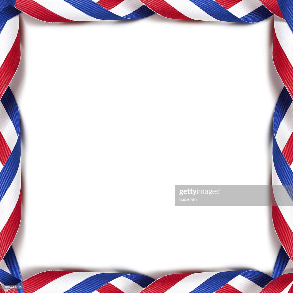 Rolled up the medal ribbon frame (French) background : Stock Photo