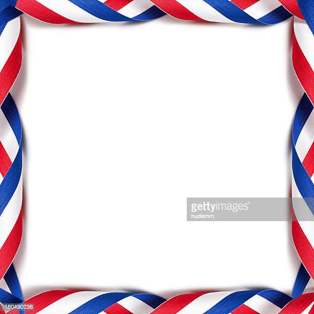rolled up the medal ribbon frame (french) background - blue ribbon stock photos and pictures