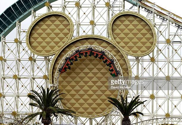 A roller coast goes upsidedown within the shape of the head of the Mickey Mouse on the California Screamin ride during grand opening days of Disney's...