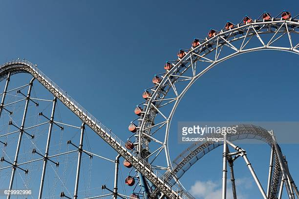 Roller coaster and Ferris wheel Tokyo Dome City Attractions amusement park Japan