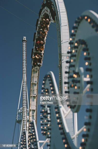 A roller coaster at an amusement park in Chicago Illinois June 1978