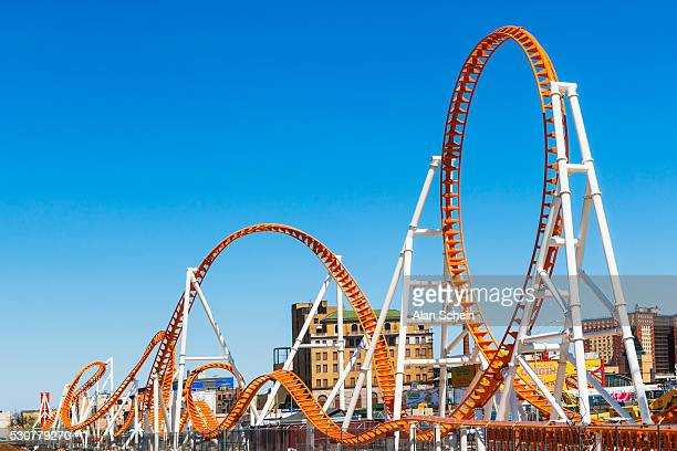 roller coaster, coney island - coney island stock pictures, royalty-free photos & images