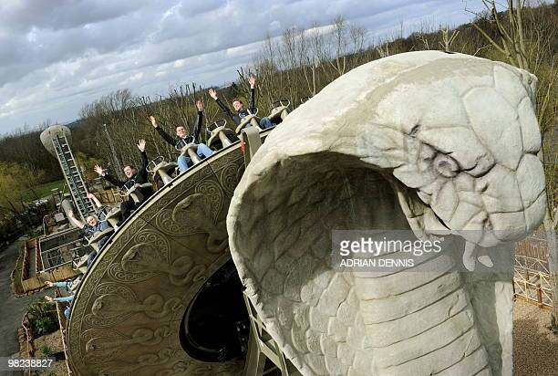 """Roller coaster enthusiasts experience """"KOBRA"""", the new ride at Chessington World of Adventures at the theme park near Leatherhead March 26, 2010. The..."""