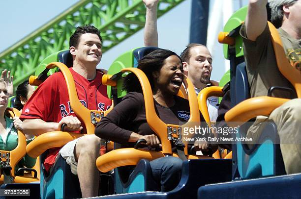 Roller coaster enthusiasts ride Kingda Ka the world's tallest and fastest roller coaster at Six Flags Great Adventure in Jackson NJ