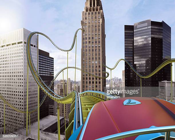 Roller coaster in downtown by day
