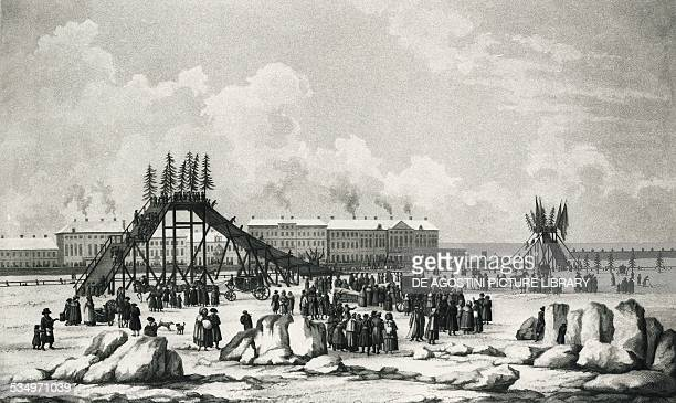 Roller coaster on the frozen Neva River in front of the Winter Palace in St Petersburg Russia 18th century Paris Bibliothèque Nationale De France