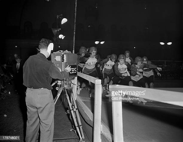 Roller Derby at the 69th Regiment Armory New York NY Image dated November 29 1948
