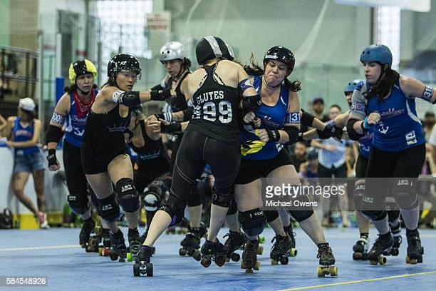 Brooklyn Bombshells Hela Skelter in action vs Queens of Pain at Abe Stark Arena in Coney Island Brooklyn NY CREDIT Michael Owens