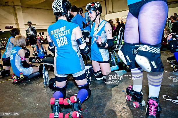 Roller Derby London Roller Girls UK premier league teams Vs travel team Tiger Bay from Cardiff Brompton Hall Earls Court London 04 Feb 2012 my...