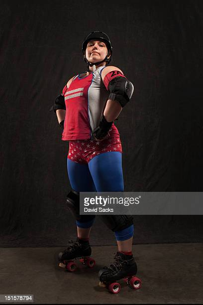 Roller derby portrait of young woman