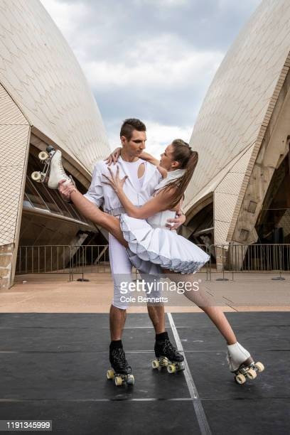 Roller Skate performers Duo Velocity pose during a media preview of Cirque Stratosphere at Sydney Opera House on December 02 2019 in Sydney Australia