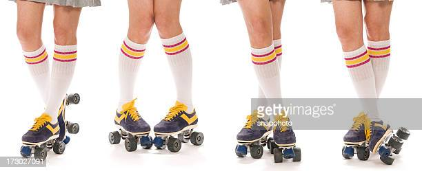 roller skate poses - roller skating stock photos and pictures