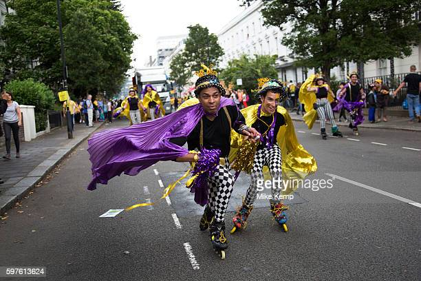 Roller skate troupe on Sunday 28th August 2016 at the 50th Notting Hill Carnival in West London A celebration of West Indian / Caribbean culture and...