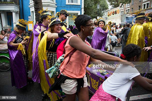Roller skate troupe start a conga on Sunday 28th August 2016 at the 50th Notting Hill Carnival in West London A celebration of West Indian /...