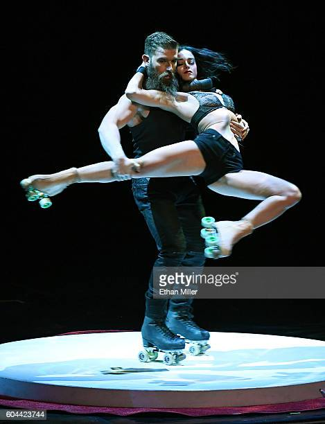 Roller skaters Billy England and Emily England from the show 'Absinthe' perform during Criss Angel's HELP charity event at the Luxor Hotel and Casino...