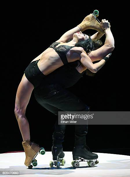 Roller skaters Emily England and Billy England from the show 'Absinthe' perform during Criss Angel's HELP charity event at the Luxor Hotel and Casino...