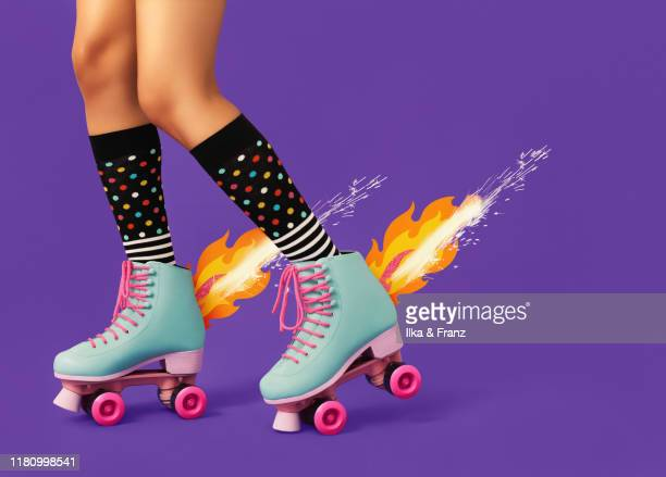 roller skates on fire - fireworks stock pictures, royalty-free photos & images