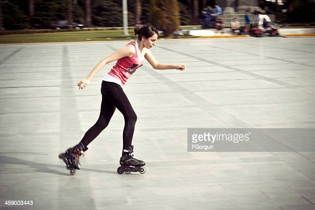 roller skating - roller rink stock photos and pictures