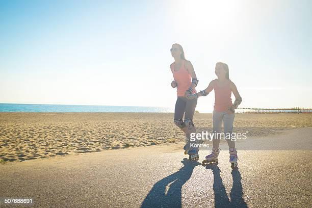 Roller sur la plage